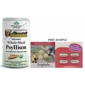 Organic India Whole Husk Psyllium (Isabgol) - 100g (3.6 Oz) - With Free Gift Samples and Free Shipping