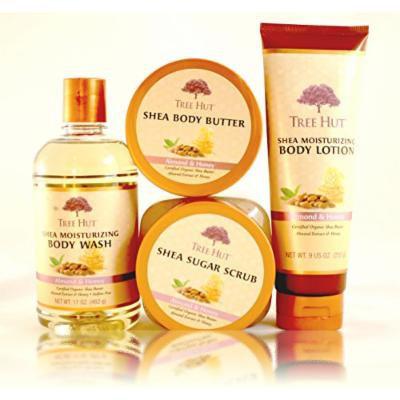Tree Hut Shea Moisturizing Almond & Honey Set: Body Wash, Sugar Scrub, Lotion, & Body Butter