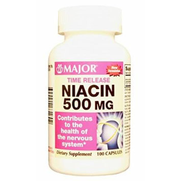 Niacin 500mg Timed Release 100ct capsules (PACK OF 3 =300 Capsules) *Compare to Slo-Niacin® & Save*