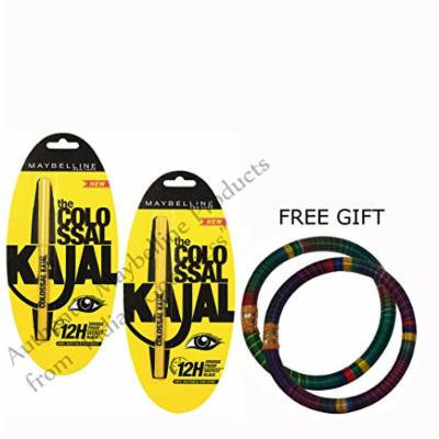 Maybelline Colossal Kajal 12h Black Pack Of 2 - With Free Gift Pair Of Multicolor Bangles