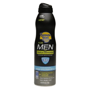 BANANA BOAT Banana Boat Triple Defense Sunscreen Spray for Men with SPF 30 - 6 oz