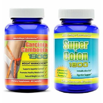 Super Colon 1800 Max Strength Weight Loss Detox Cleanse & Garcinia Cambogia 60% HCA Most Effective 60 Capsules Per Bottle
