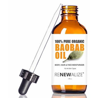 Organic BAOBAB OIL by Renewalize in LARGE 4 OZ. DARK GLASS BOTTLE with Glass Eye Dropper , Highest Quality 100% Pure Cold Pressed and Unrefined (Virgin) , Non-GMO , All Natural Moisturizer for Luxurious Hair , Skin and Nails , Helps to Enhance Hair's...