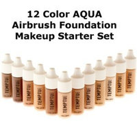 TEMPTU PRO 12 Color Aqua Airbrush Makeup Foundation Starter Set in 1/4 Ounce Bottles