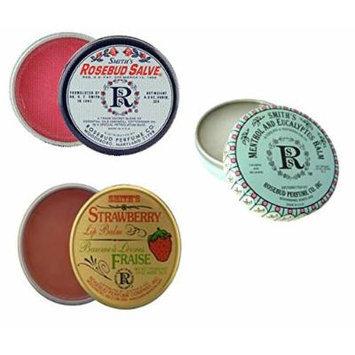 Rosebud Perfume Co. Tin 3 Pack: Smith's Rosebud Salve + Smith's Strawberry Lip Balm + Smith's Menthol and Eucalyptus Balm