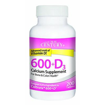 21st Century 600 mg Plus D Calcium Supplement, 200 Count