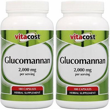 Vitacost Glucomannan - Konjac Root -- 2000mg serving - 180 Capsules (Two Bottles each of 180 Capsules)