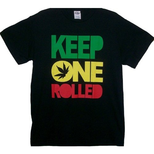 Rob's Tees Keep One Rolled Weed Smokers T Shirt Black [Large]