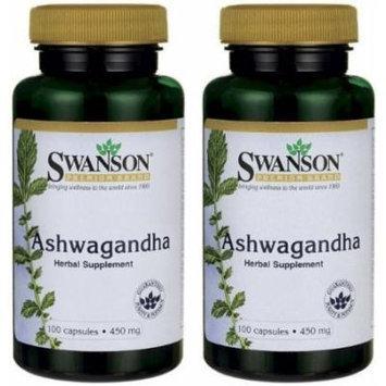 Swanson Premium Ashwagandha Powder 450 mg -- 2 Bottles each of 100 Caps