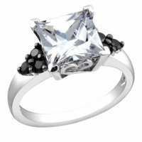 Amour Square Cut Cubic Zirconia and Accents Ring, White, Black, 7, 1 ea
