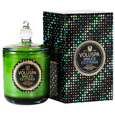 Voluspa Maison Holiday Collection Boxed Candle with Glass Lid, Spruce Cuttings, 13 oz