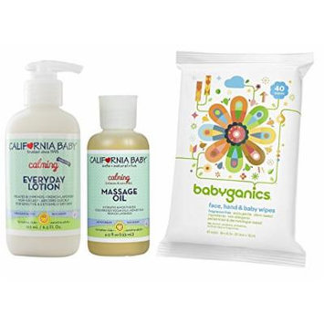 California Baby Everyday Lotion with Massage Oil & All-Over Wipes, Calming