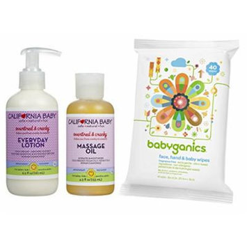 California Baby Everyday Lotion with Massage Oil & All-Over Wipes, Overtired & Cranky