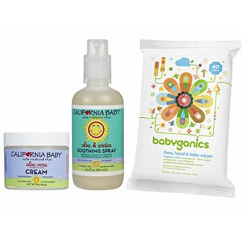 California Baby Aloe Vera Cream with Soothing Spray and All Over Wipes
