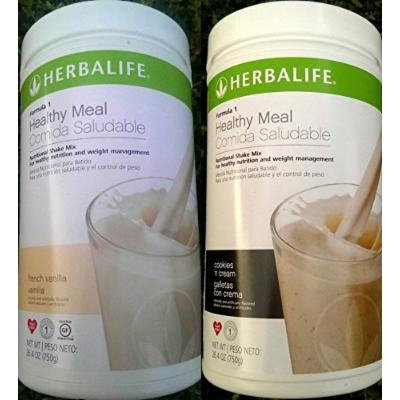 2 HERBALIFE FORMULA 1 NUTRITIONAL SHAKE FRENCH VANILLA AND COOKIES AND CREAM MIX Shipped from USA And Fast Shipping