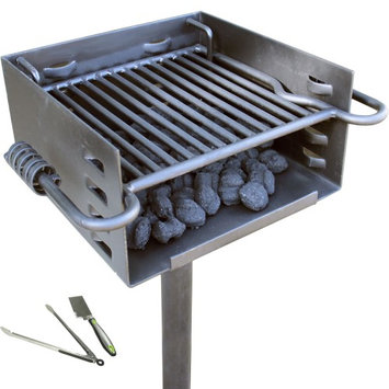 Titan Distributors Titan Single Post Park Style Grill Charcoal BBQ Outdoor Heavy Duty Cooking Camp