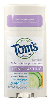 Tom's OF MAINE Natural Long Lasting Women's Deodorant Stick Cucumber Grapefruit