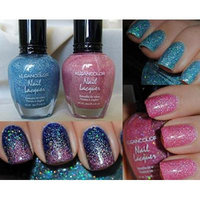 2 Colors Holo Blue & Pink Kleancolor Nail Polish Holographic Glitter Set