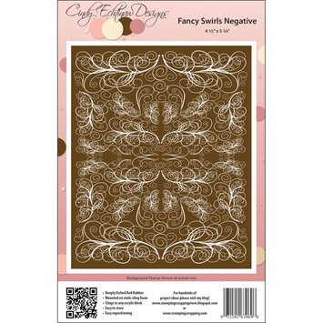 Stamping Scrapping Cindy Echtinaw Designs Spellbinders Matching Rubber Stamps-Fancy Swirls Negative