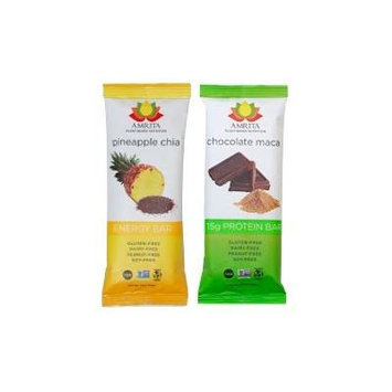 Paleo Pineapple Chia Energy Bars & Chocolate Maca High Protein Bars - Gluten-Free, Soy-Free, Dairy-Free, Peanut-Free and Non-GMO Certified - Vegan, Raw and Kosher - Kid-School Safe Snack - Clean fuel for athletes - Pack of 24 bars by Amrita