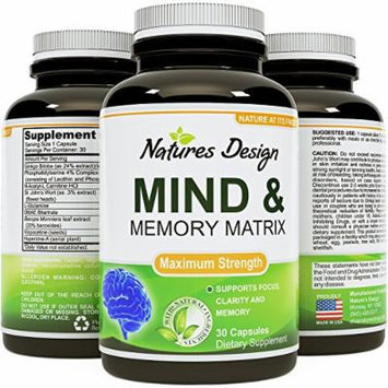 Mind and Memory Support - Natural Cognitive Enhancing Pills for Adults - Boost Brain Function + Prevent Memory Loss + Increase Focus - Made with Pure Ginkgo Biloba + St. John's Wort by Natures Design