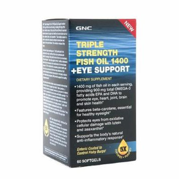 GNC Triple Strength Fish Oil 1400 + Eye Support, Softgels 60 ea
