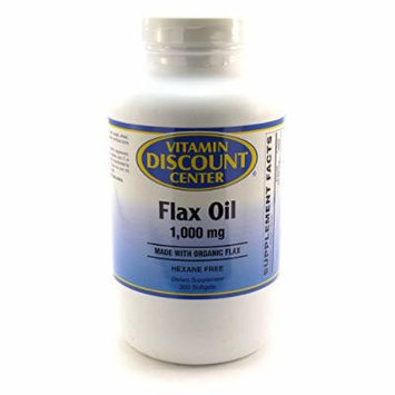 Flax Oil Organic 1000mg by Vitamin Discount Center - 300 Softgels
