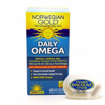 Bundle - 2 Items: 1 Bottle of Daily Omega Norwegian Gold Ultimate Fish Oils By Renew Life - 60 Fish Gels and 1 VDC Pill Box