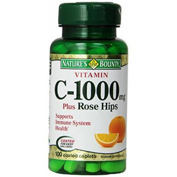 Vitamin C 1000 Mg Plus Rose Hips, By Natures Bounty - 100 Caplets (PACK OF 3)