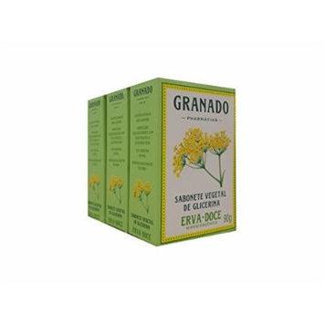 Linha Glicerina Granado - Sabonete em Barra Vegetal Erva Doce (3 x 90 Gr) - (Granado Glycerin Collection - Vegetable Bar Soap Fennel (3 x Net 3.2 Oz))