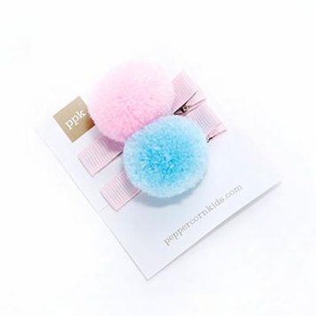 Peppercorn Kids Girls 2-PC Pompom Hair Clip Set - Soft Pink / Blue