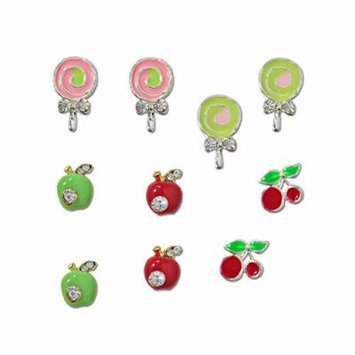 Winstonia Fruits & Candies Assorted 3D Charms Nail Art Decoration Bling Rhinestone Bead Decor - Apples, Cherries, Lollipops