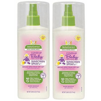 Babyganics Cover Up Baby Moisturizing Sunscreen Spray - Fragrance Free - 5.98 oz - SPF 50 (Pack of 2)