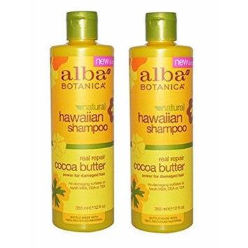 Alba Botanica Hawaiian Hair Care Cocoa Butter Real Repair Shampoo, 12 Fluid Ounce (Pack of 2)
