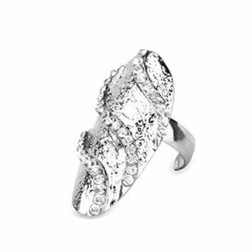 Punk Rhinestone Wave Pattern Nail Ring Finger Tip Nail Art Wedding Silver