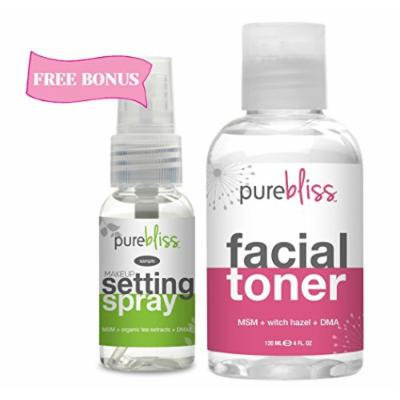 Witch Hazel Facial Toner by Pure Bliss - Infused with Skin Revitalizing and Pore Minimizing Natural Ingredients - MSM, DMAE, Organic Aloe, White Willow Bark and Tea Tree Oil - Free Trial Size Make Up Setting Spray with Hyaluronic Acid & Green Tea with...