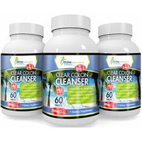 Clear Colon Cleanser - 500mg Natural Colon Cleansing Blend with Fiber-Rich Herbs and Probiotics - BUY ONE GET ONE FREE STARTS TODAY ~ LIMITED SUPPLY! (FREE bottle will be added to your order when shipped.) Mild Laxative Soothes the Digestive System...