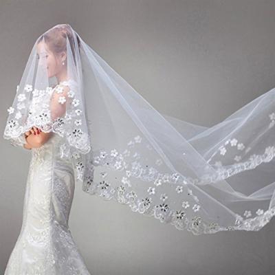 Exquisite Bridal Wedding Veil Embellish Lace Edge & Rhinestone