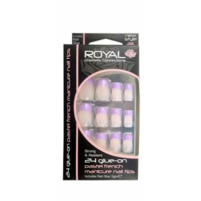 Royal 24 Glue-On Pastel French Manicure Nail Tips-Purple