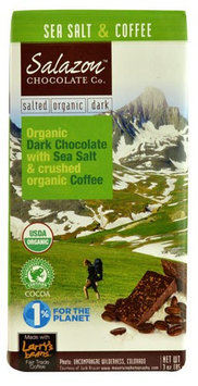 Salazon Chocolate Co. Organic Dark Chocolate Bar Sea Salt & Coffee 3 oz