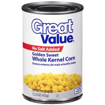 Great Value : Golden Sweet Whole Kernel No Salt Added Corn