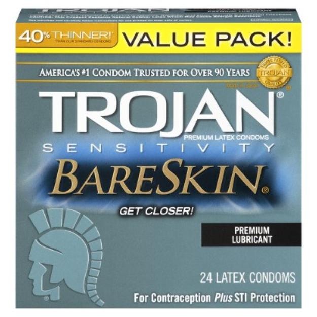 Trojan Bareskin Premium Lubricant Condoms - 24 Count