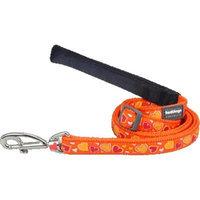 Red Dingo L6-BZ-OR-SM Dog Lead Design Breezy Love Orange Small