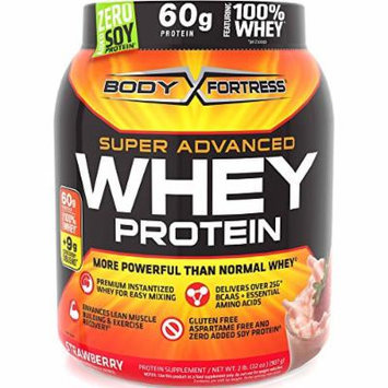 2lbs Body Fortress Super Advanced 60 Gram Whey Protein Creatine Glutamine Optimum Muscle Gain Fitness Blend Powder (Choose From 5 Flavors!) (STRAWBERRY)