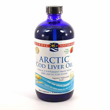 Bundle - 2 Items: 1 Bottle of Arctic Cod Liver Oil Strawberry Flavor By Nordic Naturals - 16 Ounces and 1 VDC Pill Box