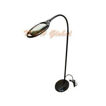 Flexible 3 Diopter Magnifying Lamp Floor Stand Gooseneck LED Magnifier Black