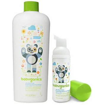 Babyganics Foaming Hand Sanitizer for On-The-Go with 16 Ounce Refill Bottle, Fragrance Free