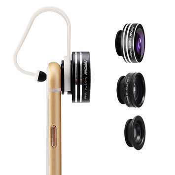 Mpow 3 in 1 Clip-On 180° Supreme Fisheye + 0.65X Wide Angle + 10X Macro Lens