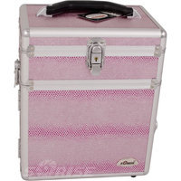 Sunrise  2-in-1 Cosmetic and Jewelry Storage Travel Case in Pink Snake