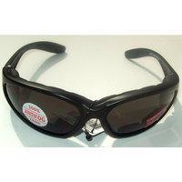 MAC Cosmetics Smoke Tint Lens Motorcycle Padded Glasses Sunglasses Nylon Black Frame UV400 High Impact Protection Plus Storage Bag
